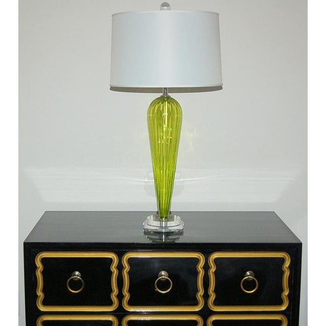 Last pair available. Exclusively blown for Swank Lighting by California artist Joe Cariati, gorgeous CHARTREUSE glass...
