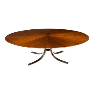 Restored Osvaldo Borsani Starburst Pattern Wood Top and Chrome Base Dining Table For Sale