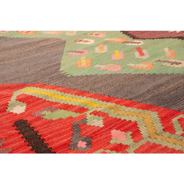 """Rug & Kilim Traditional Colorful Pictorial Donkey Wool Kilim Rug-4'3x7'10"""" For Sale - Image 4 of 7"""