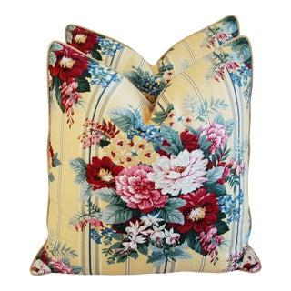 "24"" Designer Floral Bouquet Feather/Down Pillows - a Pair For Sale"