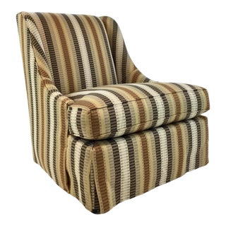 Traditional Hickory White Earth Tones Stripped Club Chair For Sale