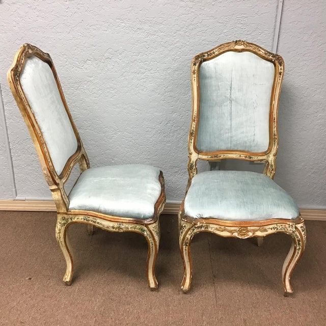 Italian Venetian Painted Chairs - a Pair For Sale - Image 3 of 11