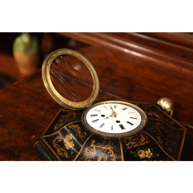 19th Century, French Napoleon III Black and Gilt Painted Tole Wall Clock For Sale - Image 4 of 10