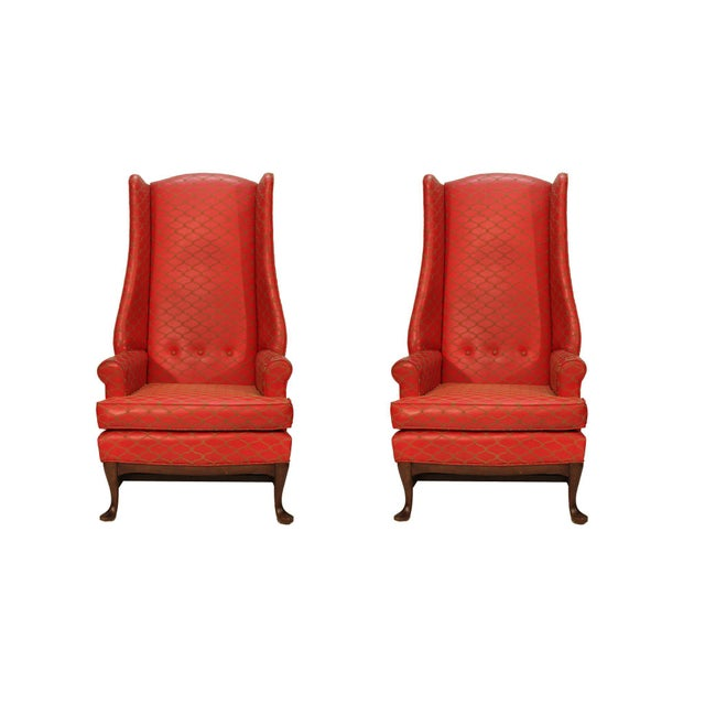 Tall Wingbacked Chairs- a Pair For Sale In Miami - Image 6 of 6