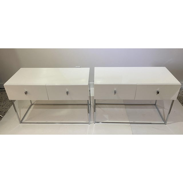 Bedside Tables Nightstands in White Lacquer by Rougier - a Pair For Sale - Image 10 of 13
