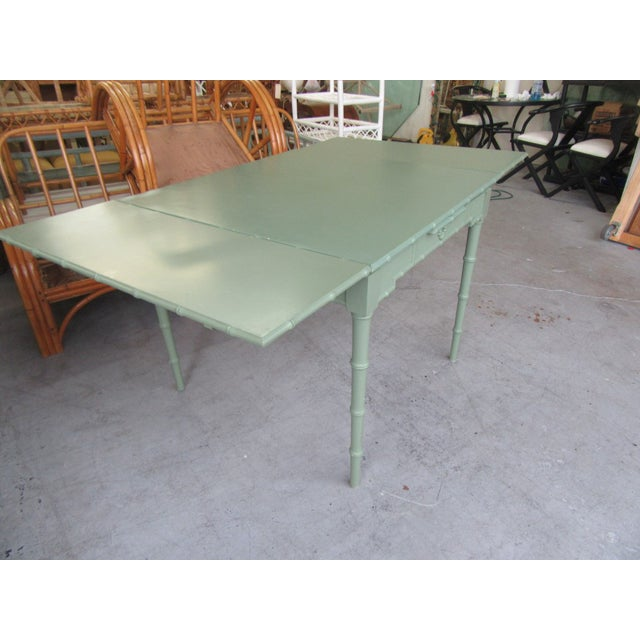 Wood Omega Extendable Faux Bamboo Dining Table For Sale - Image 7 of 8