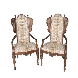 High Caned Wingback Chinoiserie Chairs - A Pair