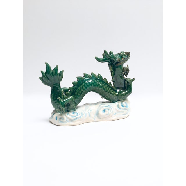 Vintage Hand Painted Ceramic Green Dragon Figurine - Image 5 of 8