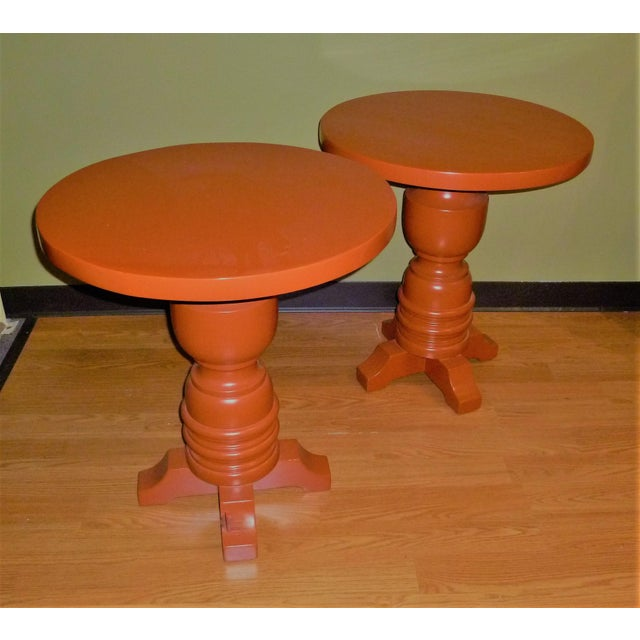 REDUCED FROM $2,650 Fat and fun, this pair of side tables lacquered in burnt orange are like large toys with their over...