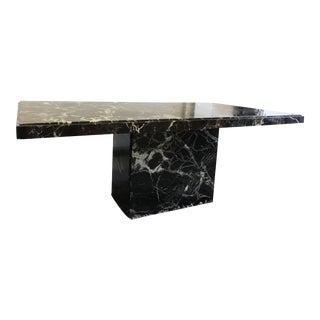 Black Marble Rectangular Pedestal Dining Table - Desk For Sale
