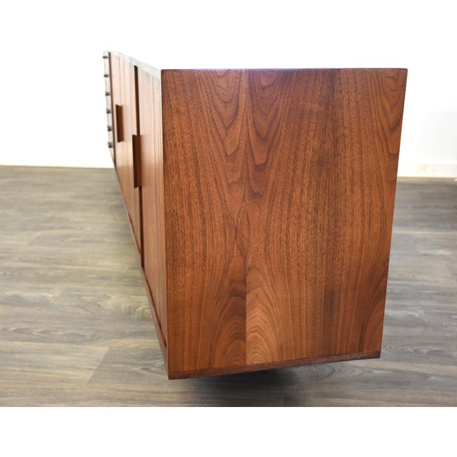 """108"""" Floating Walnut Tambour Credenza by Furnette For Sale In Boston - Image 6 of 12"""