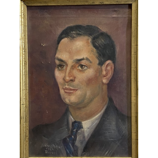 Vintage Signed Oil on Canvas Portrait of a Handsome Man Gilt Gold Frame 1942 Painting Typical condition for age. Canvas...