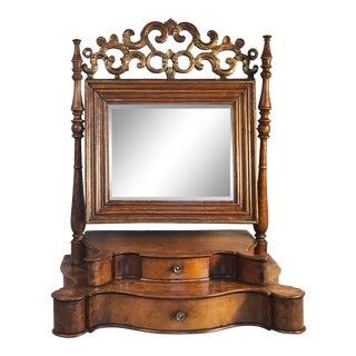 19th Century Baroque Style Walnut Burl Shaving Mirror For Sale