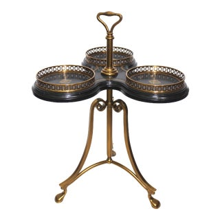 Vintage Neoclassical Revival La Barge Trefoil Side Table Bronze & Leather For Sale
