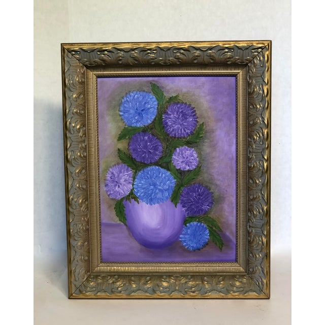 Charming mid-century still life painting of flowers in a vase. Oil on canvas board without varnish. Framed in a painted...