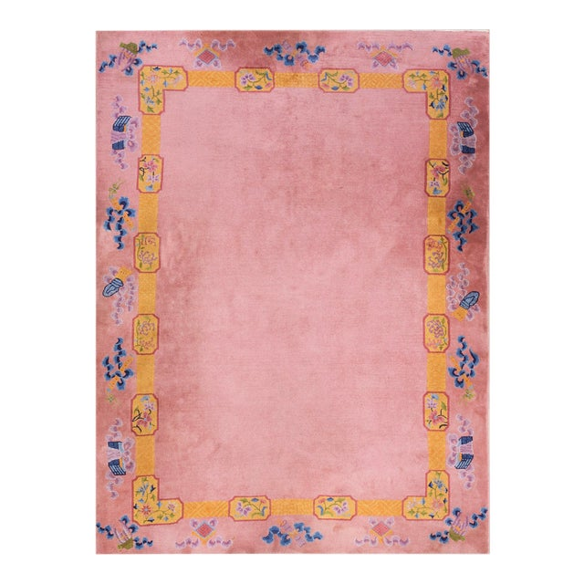 """Antique Chinese Art Deco Rug 6'8"""" X 9'0"""" For Sale"""