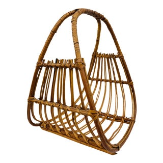 Vintage Bent Rattan Holder by Albini For Sale