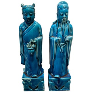 Chinese Turquoise Female and Male Statues - a Pair For Sale