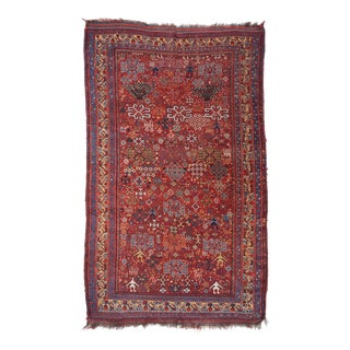 Late 19th Century Khamseh Bird Rug - 4′7″ × 7′5″ For Sale
