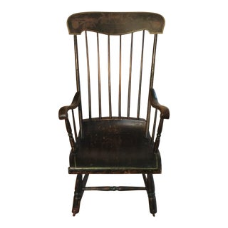 Antique Black Stenciled Rocking Chair For Sale