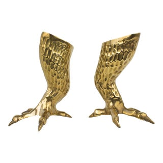 Vintage Brass Eagle Claw Candlestick Holders - A pair