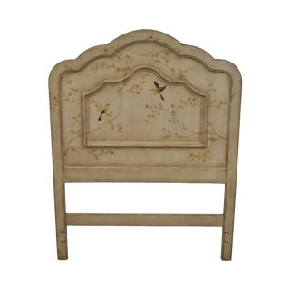 French Style Painted Twin Size Headboard With Flower Trees and Birds For Sale