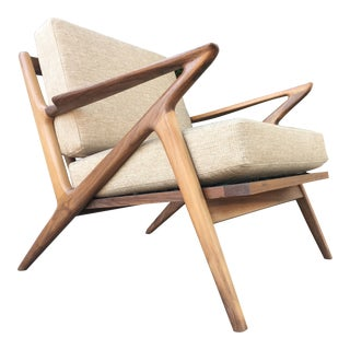 Mid Century Z Chair in Sand Fabric For Sale