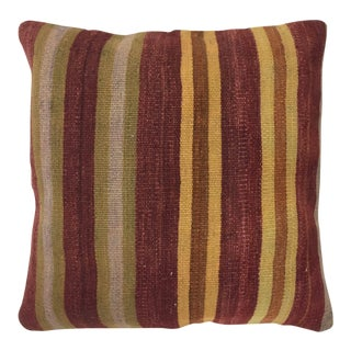"Burgundy Stripes Vintage Kilim Pillow | 24"" For Sale"
