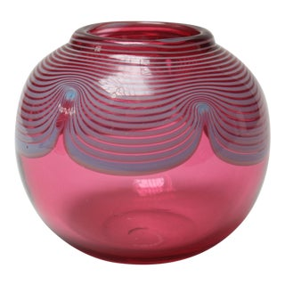 Contemporary Art Glass Orb Vase in Cranberry and Periwinkle For Sale