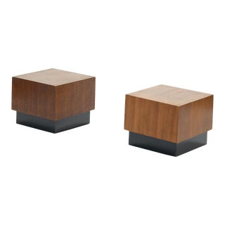Mid-Century Modern Square Walnut Side Tables With Black Plinth Base In the Style of Milo Baughman - a Pair For Sale