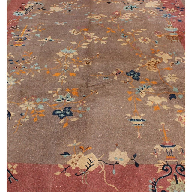 Textile 1920s Vintage Chinese Art Deco Rug - 9′ × 11′8″ For Sale - Image 7 of 11