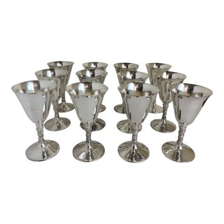 1970s Silver Plate Wine or Sherry Goblets With Grapevine Stems - Set of 12 For Sale