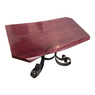 Industrial Live Edge Coffee Table For Sale