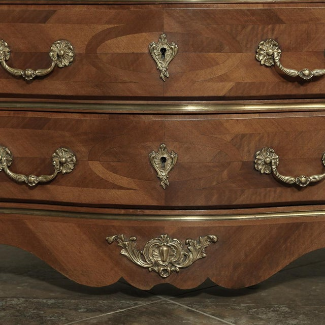 Metal 19th Century French Louis XIV Marble Top Commode With Marquetry For Sale - Image 7 of 11