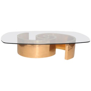 1980s Virginio Ferrari Custom Bronze and Glass Cocktail Table For Sale
