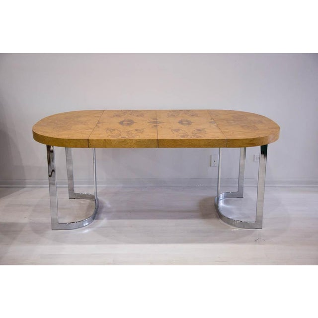 Expandable Burl Wood Dining Table by Milo Baughman for Lane Furniture For Sale - Image 9 of 9