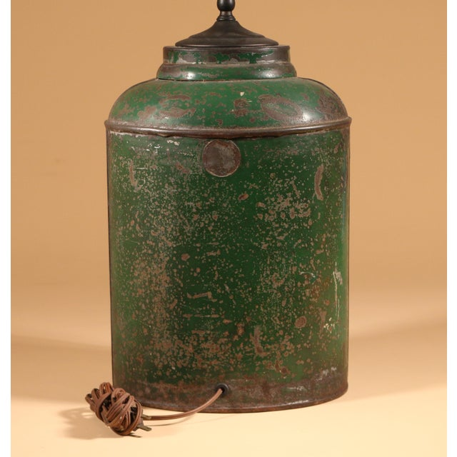 Green Tole Tea Canister with Chinoiserie Scene For Sale - Image 4 of 4
