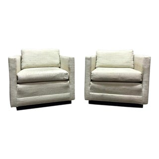 Mid Century Modern Cube Club Chairs in the style of Jack Cartwright - A Pair