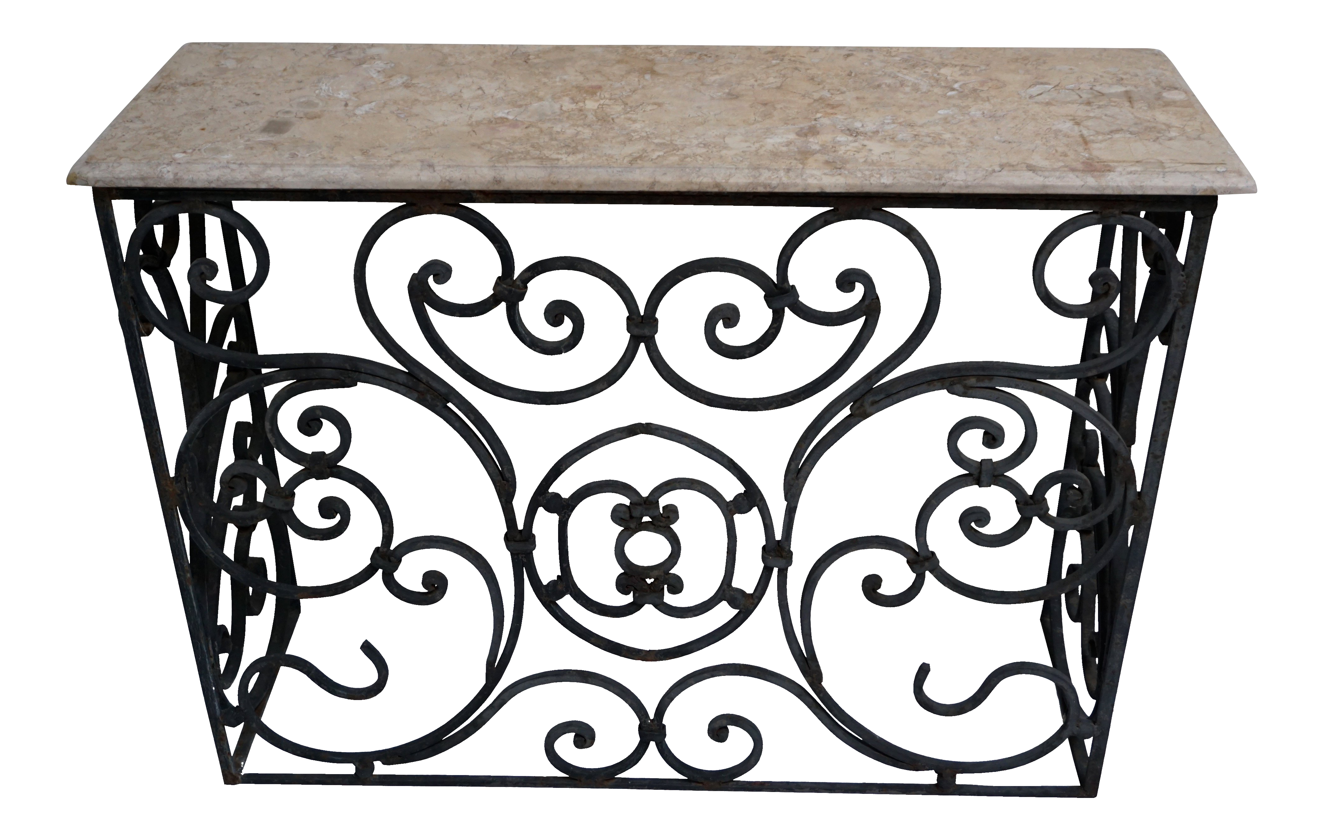 Wrought Iron Console Table With Rosa Zarci Marble Top Chairish