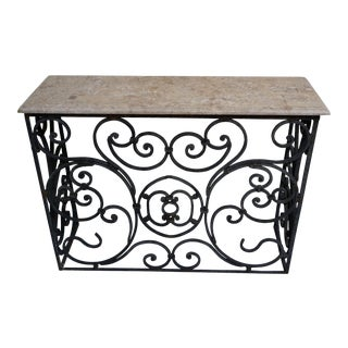 Wrought Iron Console Table With Rosa Zarci Marble Top For Sale