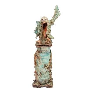 Sierra Pecheur Clay Pottery Eagle Form Sculptural Pot For Sale