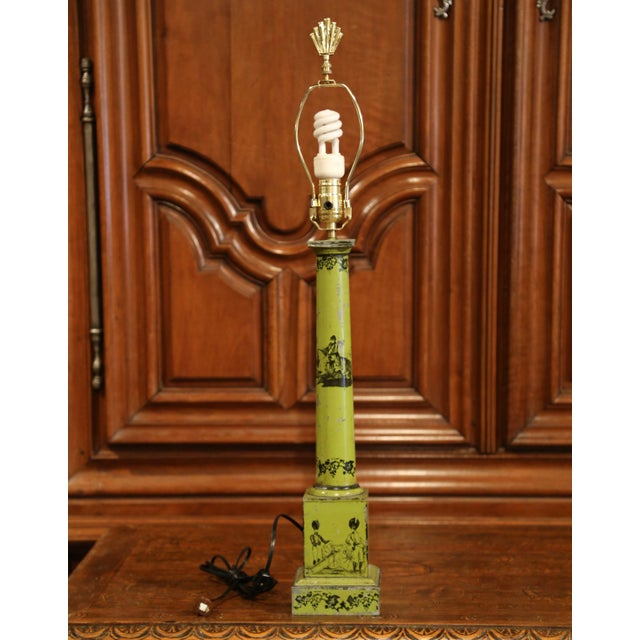 French 19th Century French Directoire Hand-Painted Green Tole Table Lamp For Sale - Image 3 of 10