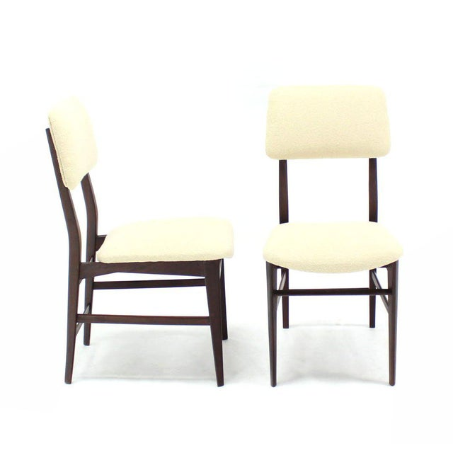 Italian Set of Four Italian Modern Walnut Dining Chairs New Upholstery For Sale - Image 3 of 7
