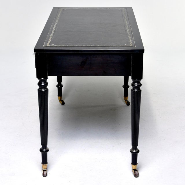 Early 20th Century Ebonized Mahogany Leather Top Desk For Sale - Image 11 of 12