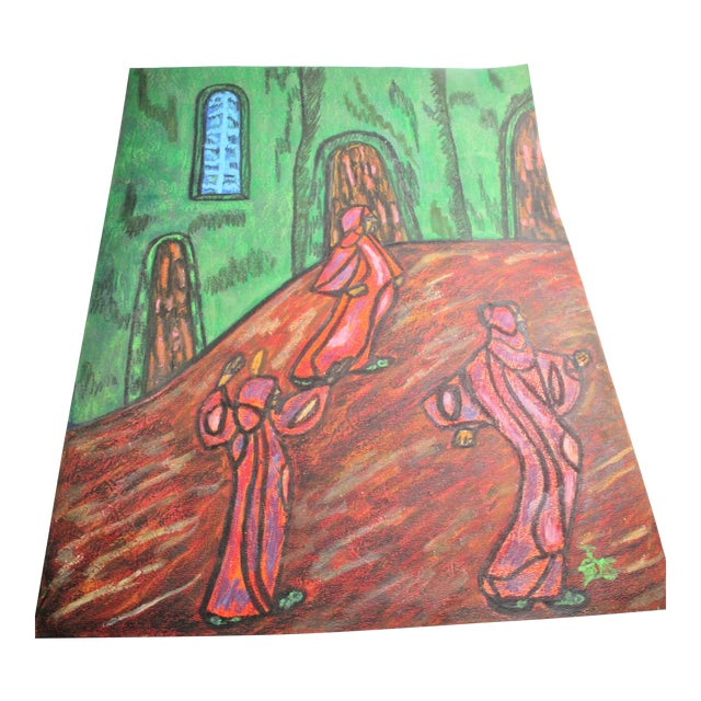 Anthony Joseph Salvatore Outsider Artist Original Symbolist Expressionist Drawing For Sale