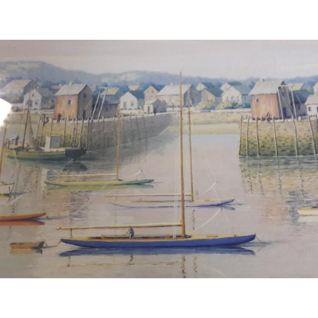 Lovely oil on paper coastal harbor scene, filled with delicate detail, large stone quai/wharfs, period sailboats, trollers...