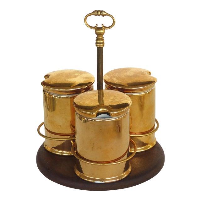 Porcelaine De Paris Gold Lustre Lidded Condiment Jars & Stand For Sale