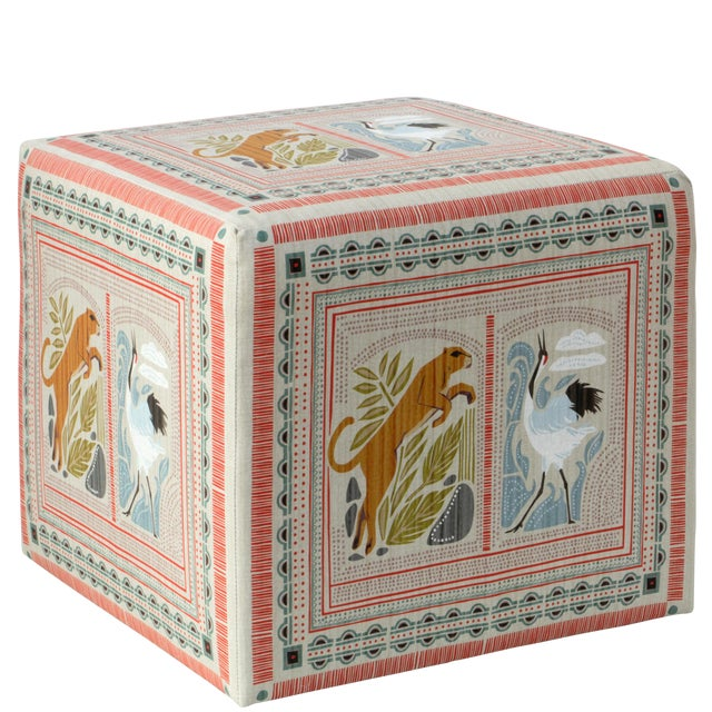 Cube Ottoman in Fauna Multi For Sale In Chicago - Image 6 of 7