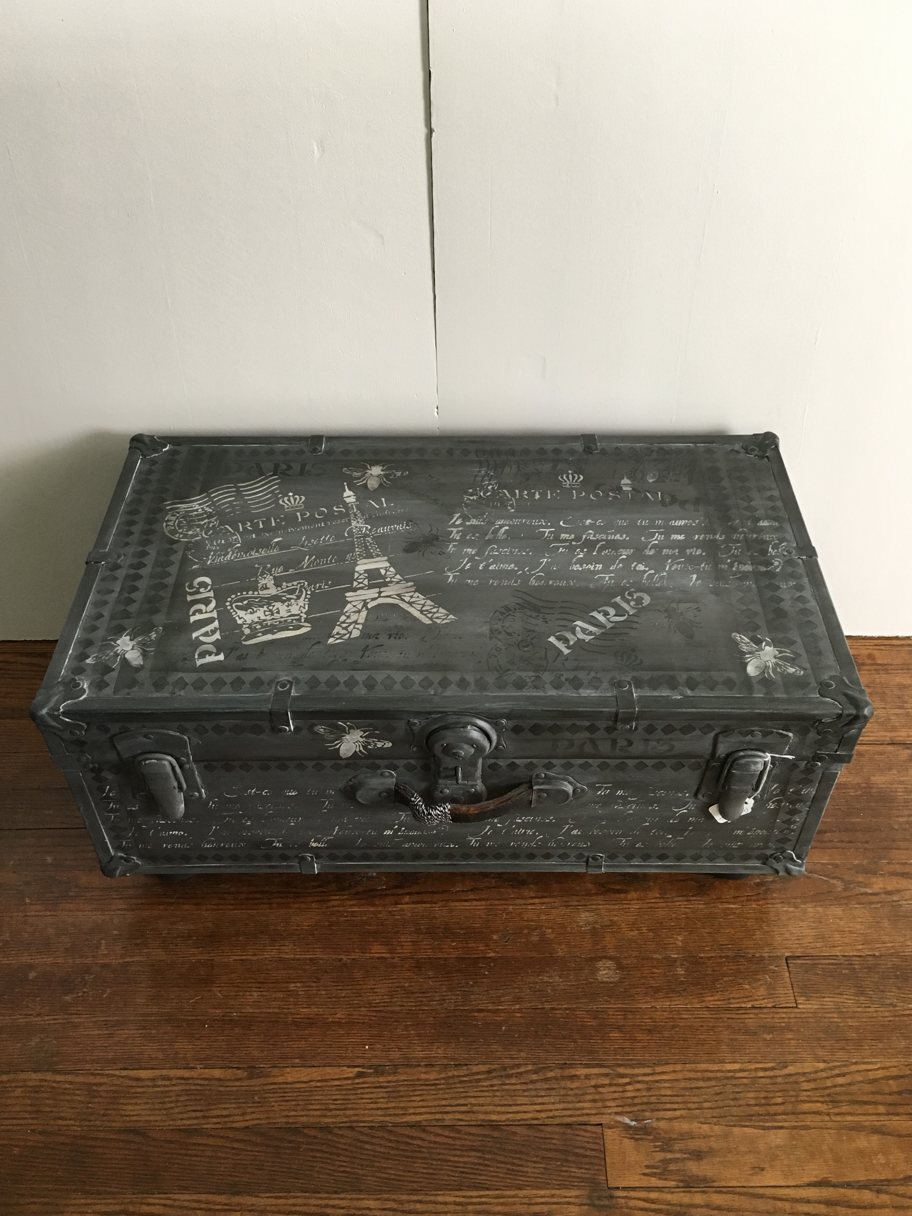 Vintage Metal Trunk Reimagined Into A Fun Coffee Table. Painted And  Distressed In Shades Of