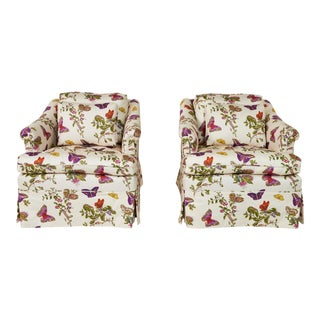 Mid-Century Schumacher's Baudin Butterfly Chintz Fabric Chairs- A Pair For Sale